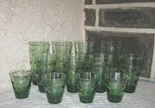 Jeannette  tumblers lot of 12 in 3 sizes Unique ribbed green glasses