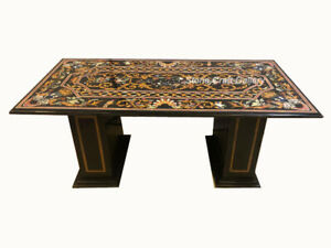 """60"""" x 36"""" Black Marble Table Top Pietra Dura Handmade With marble Stands"""