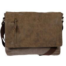 Herren Umhängetasche Canvas Laptop Tasche Notebook Braun Canvas Schultertasche