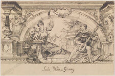 """Otto Ernst Schmidt """"Love, Wine and Song"""", Ink Drawing, 1896"""