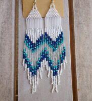 Sapphire Blue & Turquoise Native American Inspired LONG Beaded Earrings HANDMADE