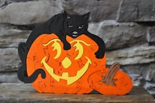 SPOOKY Black Halloween Cat on Jack O Lantern  Hand Cut Wood Toy Puzzle NEW USA