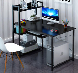 Edge Plus Combination Workstation Computer Desk with Storage Shelves (Black)