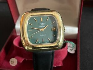 Mens automatic vintage ROTARY Swiss DATE WATCH 21J AS 1913  green dial + box