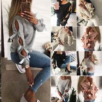 Damen Schleife Langarm Strickjacke Warm Pullover Gestrickt Strickwaren Oberteile