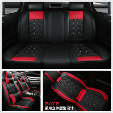 Car Seat Protect Cover Full Set Deluxe 4D PU Leather Black/Red w/Headrest Pillow