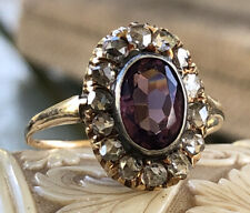 RARE ROSE CUT DIAMOND EARLY VICTORIAN ERA 10K  ROSE GOLD AMETHYST RING SIZE 8