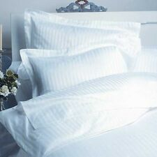 Duvet Set + Fitted Sheet Super King White Stripe 1500 TC 100% Egyptian Cotton