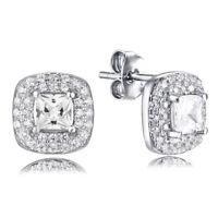 .925 Sterling Silver Princess Cut Halo Cz Cubic Zirconia Earrings Studs SEM1700A
