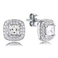 Cz Cubic Zirconia Earrings Studs Sem1700A .925 Sterling Silver Princess Cut Halo