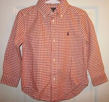 RALPH LAUREN Polo Button Up Shirt ORANGE GINGHAM size 3T NWT