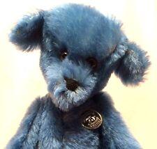 "Knickerbocker 75th Anniversary Blue Beary 12"" Jointed Teddy Bear w/ Wood Block"