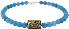 Kette Collier Achat Blau Schmuck Necklace Muranoglas Blue Agate Vergoldet