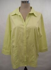 Coldwater Creek Plus Size 1X Career Green 3/4 Sleeve Button-Down Shirt Top