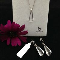 STUNNING,GENUINE 925 SOLID STERLING SILVER NECKLACE & EARRINGS EXCLUSIVE GIFT