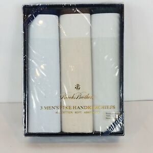 Brooks Brothers Mens Handkerchiefs Soft Light Blue Beige Brown 3 Pk 100% Cotton