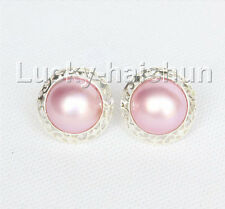 AAA natural 20mm blister pink South Sea Mabe Pearls Earrings 925 silver j11095