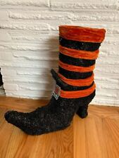 "Halloween Decor Witch's Boot Glitter Black Wire Large 18"" tall"
