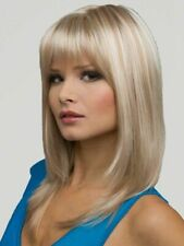 Wigs for Woman Bangs Long Straight Layered Blonde Balayage Women Synthetic Hair