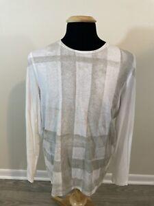 Burberry Brit Long Sleeve White Plaid Check Graphic Tee Shirt Men's Size Medium