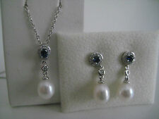 DIAMOND SAPPHIRE PEARL DROP EARRINGS PENDANT GIFT SET 18CT WHITE GOLD