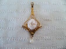 Vintage Antique Cameo w Seed Pearl 10K Yellow Gold Lavalier Filigree Pendant