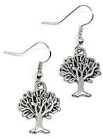 Oak Tree Earrings tree of Life Earth Pagan Wiccan Drop Dangle