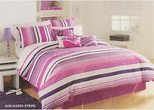 Roxy SUN KISSED STRIPE 7-piece Full Queen Duvet Cover + Shams + Sheet Set
