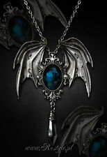RESTYLE DELLA MORTE CYAN BAT SCARY HALLOWEEN GOTHIC EMO BROOCH CHARM NECKLACE