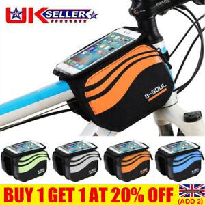 Waterproof MTB Mountain Bike Frame Front Bag Pannier Cycling Mobile Phone Holder