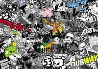 NEW VW STICKERBOMB SHEET SIZE:1M X 300MM (VW/EURO/STICKERS/DRIFT/JDM) B&W/COLOUR
