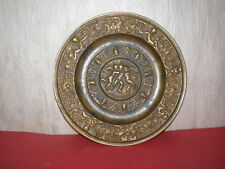 Medieval Renaissance brass plate with religious ornaments from 17-18 century