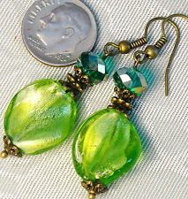"Bead Crystal Bronze Dangle Earrings 2"" . Free Ship Lime Green Silver Foil Glass"
