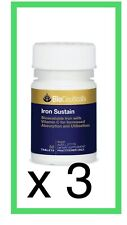 3 x BioCeuticals Iron Sustain 30 Tablets ( total 90  tabs ) FREE  POSTAGE