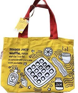 NWT Trader Joes Reusable Shopping Bag Breakfast Waffle Toast Milk Heavy Cotton