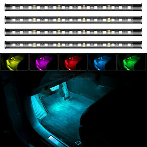 RGB Multicolour Remote Atmosphere Lamp Car Interior Footwell 60 LED Strip Lights