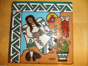 Vintage Marked Art TILE Pottery Native Indian Navajo Angel Fired Red CLAY OOAK