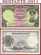 BURMA - 1 KYAT 1958 - P 46   -    FDS / UNC  with 2 stapler holes