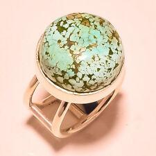 "Real Tibetan Turquoise Gemstone 925 Silver Plated Ring Size UK ""Q""/US ""8.5"""