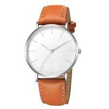 Design Armbanduhr mit Lederarmband braun/weiß/silber Damen Herren Uhr klassisch