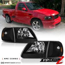 [4PC COMBO] 1997-2003 Ford F150 Black Corner Signal Front Head Lights Lamp PAIR