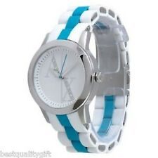 NEW A|X ARMANI EXCHANGE WHTE & BLUE SILICONE WRAPPED STEEL BAND WATCH-AX5072