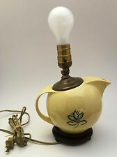 Vintage Mid-Century Modern Yellow Blue Flower Round Pitcher Ewer Table Lamp