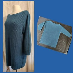 Simply Be blue knit longline jumper UK 18-22 plus size wide slash neckline smart