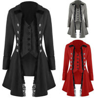 Retro Victorian Womens Corset Rock Steampunk Gothic Coat Tailcoat Cosplay Jacket