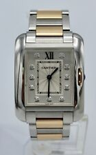 CARTIER TANK ANGLAISE 18K ROSE GOLD & STAINLESS DIAMOND DIAL BOX PAPERS ORIG TAG