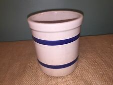 Vintage Robinson Ransbottom Pottery R.R.P.Co 303-E Blue Band Crock Roseville 1qt