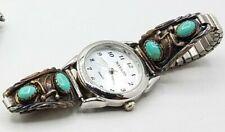 japan Sterling Silver  turquoise Stones Watch Tips runs  Ladies hallmark