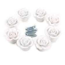 8pz. Pomello Maniglia Ceramica Cassette Armadio Mobili Casa Fiore Bianco + Viti