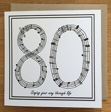 80th Birthday Card/ Greetings Card/ Birthday Card / 80/ eightieth/ Music/ Sing